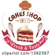 Clipart Of A Slice Of Cake And Whisks With Text Royalty Free Vector Illustration