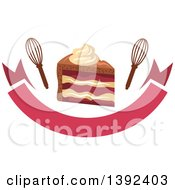 Clipart Of A Slice Of Cake And Whisks Over A Banner Royalty Free Vector Illustration