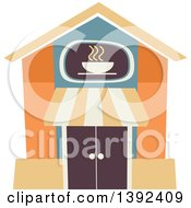 Clipart Of A Flat Design Cafe Store Front Royalty Free Vector Illustration