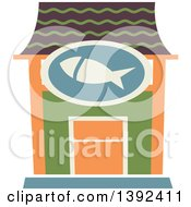 Clipart Of A Flat Design Seafood Restaurant Store Front Royalty Free Vector Illustration by BNP Design Studio