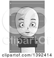 Clipart Of A Grayscale Man Getting His Mug Shot Taken Royalty Free Vector Illustration by BNP Design Studio