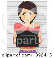 Clipart Of A Mad Brunette White Woman Getting Her Mug Shot Taken Royalty Free Vector Illustration