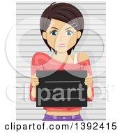 Poster, Art Print Of Mad Brunette White Woman Getting Her Mug Shot Taken