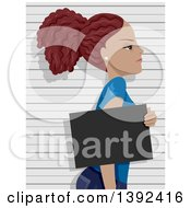 Clipart Of A Mad Young Black Woman Getting Her Mug Shot Taken Royalty Free Vector Illustration