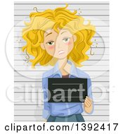 Clipart Of A Drunk Blond White Woman Getting Her Mug Shot Taken Royalty Free Vector Illustration