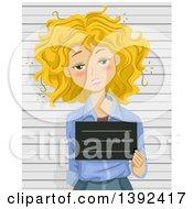 Poster, Art Print Of Drunk Blond White Woman Getting Her Mug Shot Taken
