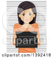 Clipart Of A Scared Brunette White Woman Getting Her Mug Shot Taken Royalty Free Vector Illustration by BNP Design Studio