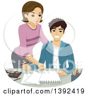 Clipart Of A Teenage Boy Getting Art Lessons Royalty Free Vector Illustration