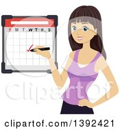 Clipart Of A Brunette White Girl Checking Off A Date On A Calendar Royalty Free Vector Illustration by BNP Design Studio
