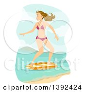 Clipart Of A Blond White Teen Girl Skimboarding Royalty Free Vector Illustration