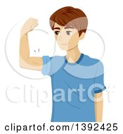 Clipart Of A Teen Boy Flexing His Biceps Royalty Free Vector Illustration by BNP Design Studio