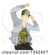 Clipart Of A Male Hip Hop Dancer In Action Royalty Free Vector Illustration