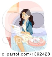 Clipart Of A White Teen Girl Reading A Love Letter On Her Bed Royalty Free Vector Illustration