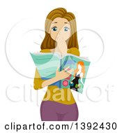 Clipart Of A Shocked White Girl Covering Her Mouth And Reading Something In A Magazine Royalty Free Vector Illustration