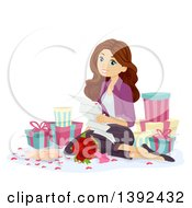 Brunette White Teen Girl Reading A Love Letter And Surrounded By Gifts