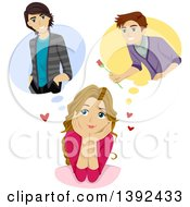 Clipart Of A Teen Girl Fantasizing About Boys Royalty Free Vector Illustration by BNP Design Studio