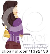 Clipart Of A Brunette White Woman Thinking By A Shopping Cart Royalty Free Vector Illustration