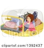 Brunette White Woman In A Convertible Car Filled With Luggage