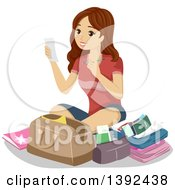 Clipart Of A Young Brunette White Woman Preparing Her Luggage For Travel Royalty Free Vector Illustration
