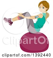 Clipart Of A Teenage Caucasian Girl Doing Situps On A Ball Royalty Free Vector Illustration
