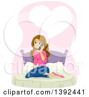 Clipart Of A Caucasian Teenage Girl Sitting On A Bed And Talking On A Phone Under A Heart Royalty Free Vector Illustration by BNP Design Studio