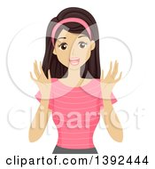 Clipart Of A Happy Teen Girl Looking Surprised Royalty Free Vector Illustration