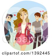 Clipart Of A Pretty Teen Girl Being Admired By Guys Royalty Free Vector Illustration