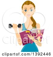 Clipart Of A Fit Dirty Blond White Teen Girl Holding A Magazine And Working Out With A Dumbbell Royalty Free Vector Illustration by BNP Design Studio