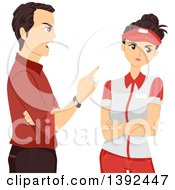 Clipart Of A Mad Male Manager Lecturing An Annoyed Teenage Girl Royalty Free Vector Illustration by BNP Design Studio