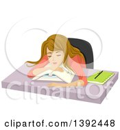 Clipart Of A Dirty Blond White Teen Girl Sleeping On Books Royalty Free Vector Illustration
