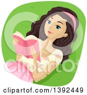 Clipart Of A Relaxed Brunette White Girl Reading A Book Outdoors Royalty Free Vector Illustration