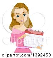 Clipart Of A Dirty Blond White Teen Girl Pointing To A Calendar Royalty Free Vector Illustration