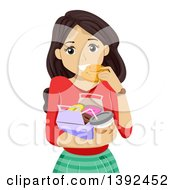 Clipart Of A Brunette White Teen Girl Eating A Donut And Holding Coffee Royalty Free Vector Illustration