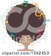 Clipart Of A Pretty Black Woman With A Giant Afro And Music Notes Royalty Free Vector Illustration