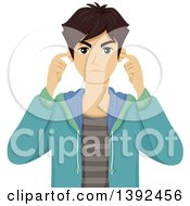 Clipart Of A Frustrated And Annoyed Teenage Boy Plugging His Ears Royalty Free Vector Illustration by BNP Design Studio