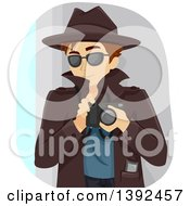 Clipart Of A Detective Teenage Boy Holding A Camera Royalty Free Vector Illustration