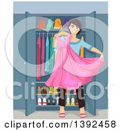Clipart Of A Teenage Guy Cross Dresser Holding A Dress Royalty Free Vector Illustration