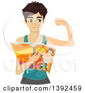 Clipart Of A Skinny Teenage Guy Flexing His Biceps And Reading A Fitness Magazine Royalty Free Vector Illustration