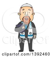 Clipart Of A Cartoon Jewish Priest Holding A Bible Royalty Free Vector Illustration