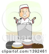 Clipart Of A Muslim Imam Preaching To An Audience Royalty Free Vector Illustration