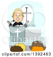 Clipart Of A Cartoon Blond White Protestant Priest Preaching At The Pulpit Royalty Free Vector Illustration