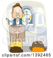 Clipart Of A Cartoon White Male Priest Preaching At The Pulpit Royalty Free Vector Illustration