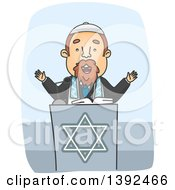 Clipart Of A Cartoon Rabbi Preaching At A Podium Royalty Free Vector Illustration