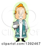 Clipart Of A Cartoon Happy Priest In A Cassock Holding A Bible Royalty Free Vector Illustration