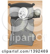 Clipart Of A Sick Or Lazy Man In Bed Royalty Free Vector Illustration