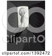 Clipart Of A Man Entering A Dark Room Royalty Free Vector Illustration