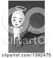 Clipart Of A Happy Angelic Man With A Devil Shadow Royalty Free Vector Illustration by BNP Design Studio
