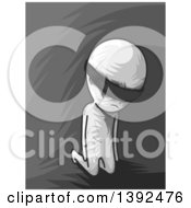 Clipart Of A Grayscale Man Going Through Initiation Blindfolded And Kneeling Royalty Free Vector Illustration