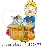 Clipart Of A Cartoon Blond White Man Donating Or Packing Sports Equipment Royalty Free Vector Illustration