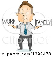 Cartoon Sad Brunette White Man Trying To Balance Work And Family